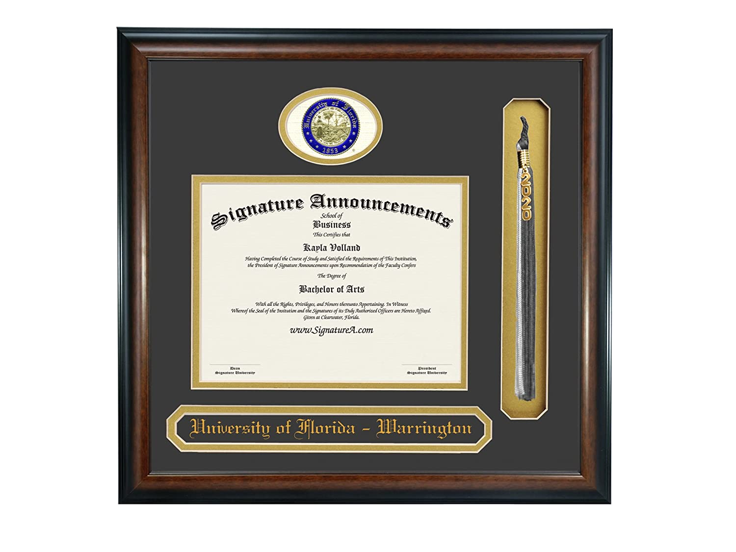 Signature Announcements University of Florida Warrington College of Business Undergraduate Sculpted Foil Seal Name /& Tassel Graduation Diploma Frame 23 x 24 Matte Mahogany