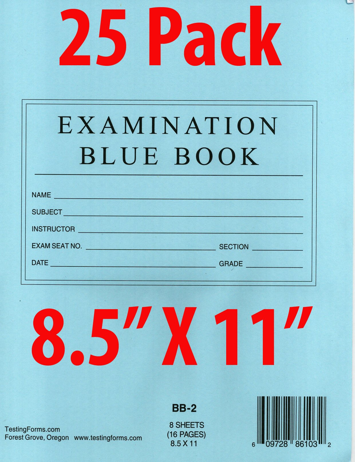 TestingForms.com 8.5'' x 11'' Examination Blue Book 8 Sheets 16 Pages 25 Booklets