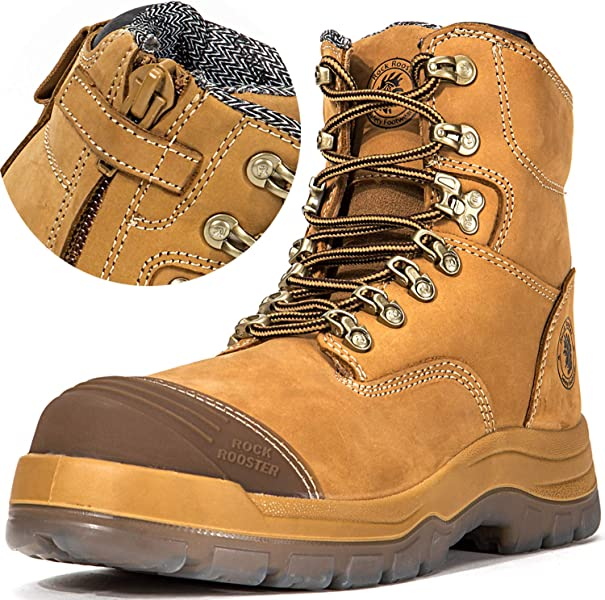 88959738516 Men's Work Boots, Steal Toe, Antistatic, Safety Leather Shoes, Pull On  Water Resistant, AK232, AK245