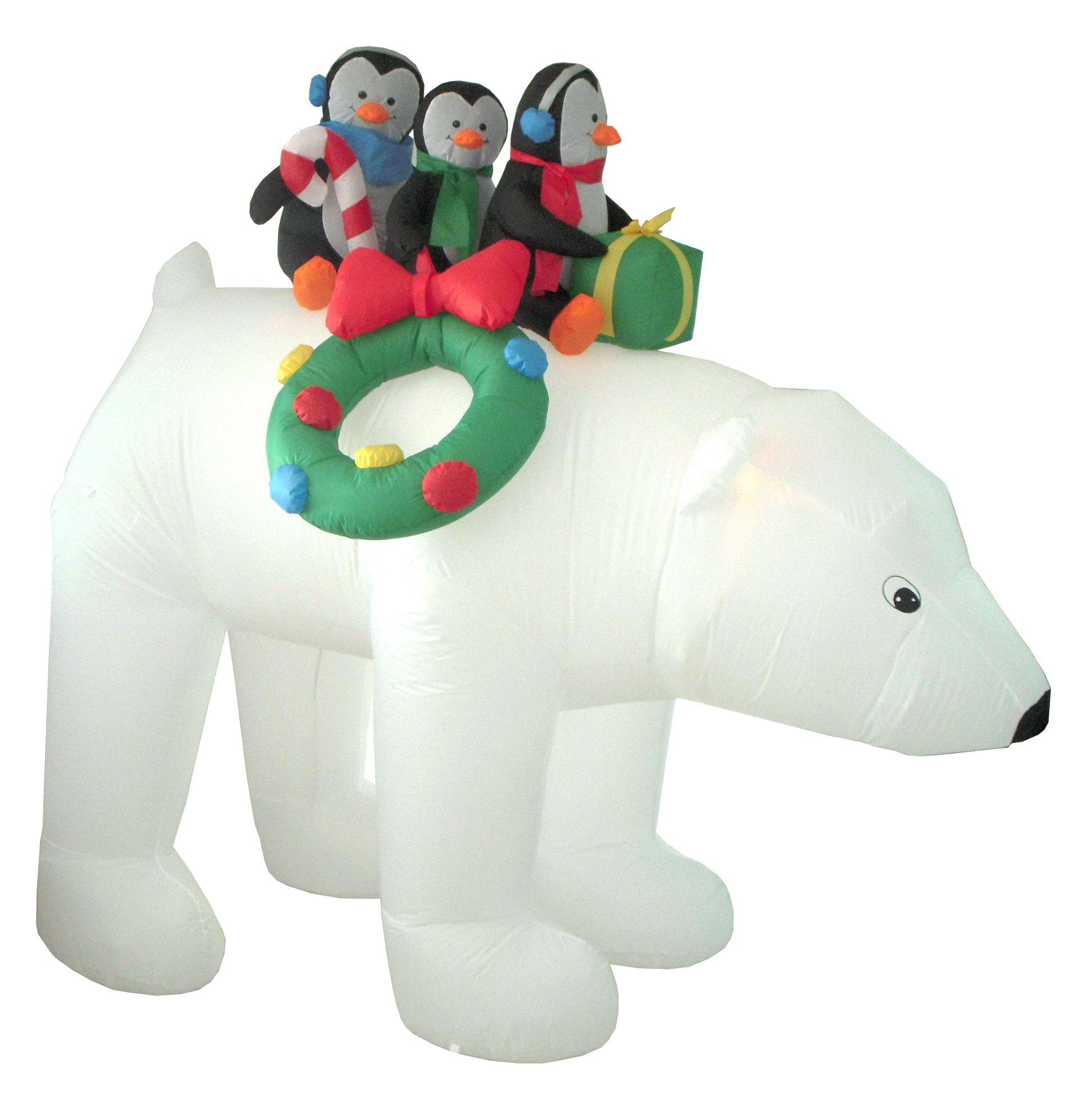8 Foot Christmas Inflatable 3 Penguins on Polar Bear Outdoor Yard Decoration