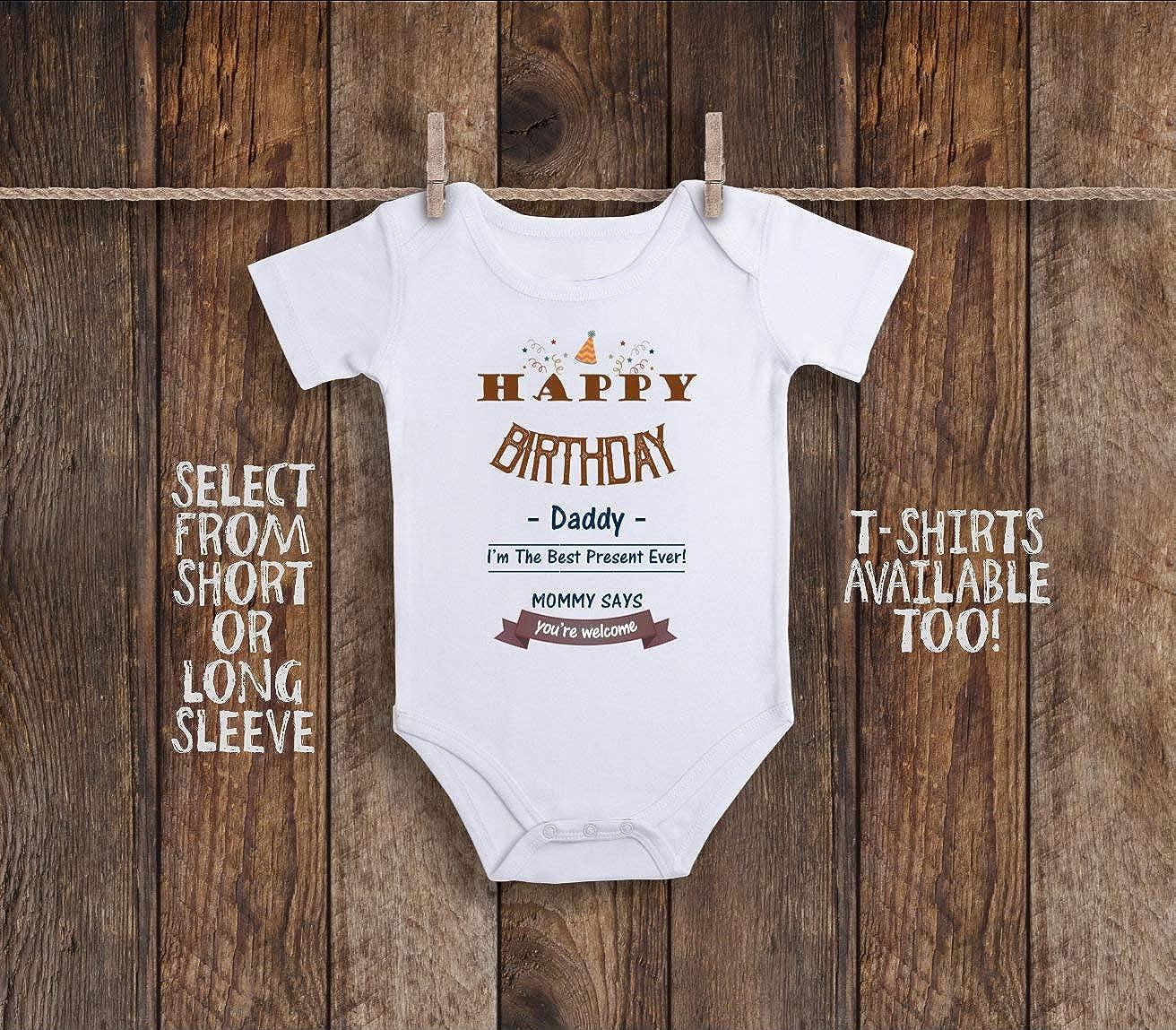 Amazon Happy Birthday Daddy Onesie Unisex Baby Clothes One Piece Gift New Dad Boy Girl Shirt Newborn 3 6 Months