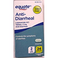 Equate Anti-Diarrheal, Loperamide Hydrochloride (HCl) 24 Tablets 2 Pack-Total of 48 Tablets