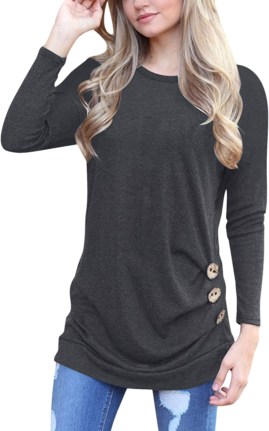 3da4cfc54c0 New thicker material, soft and comfortable to wear. Round Neck, Solid  Color, Button Trim on the Side, A must have women shirts.
