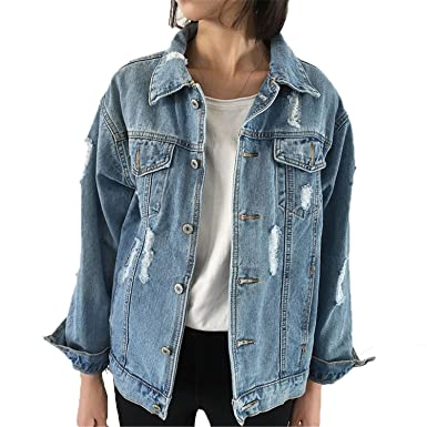 Henraly Women Denim Coats Loose Long Sleeved Female Jacket ...
