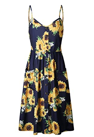 c913caf754 ST-MAX Women's Dresses Plus Size Summer Floral Strap Casual Beach Button  Down Midi Dress