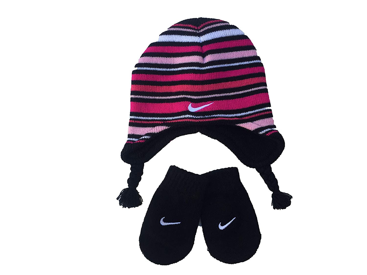 96721077214fd Amazon.com  Nike Toddler Boy s Knit Striped Hat   Mittens Set  Clothing