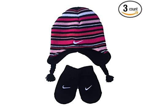 ac88def5 Nike Toddler Girls Pink/Black Striped Knit Hat and Mittens Set Size 2/4T