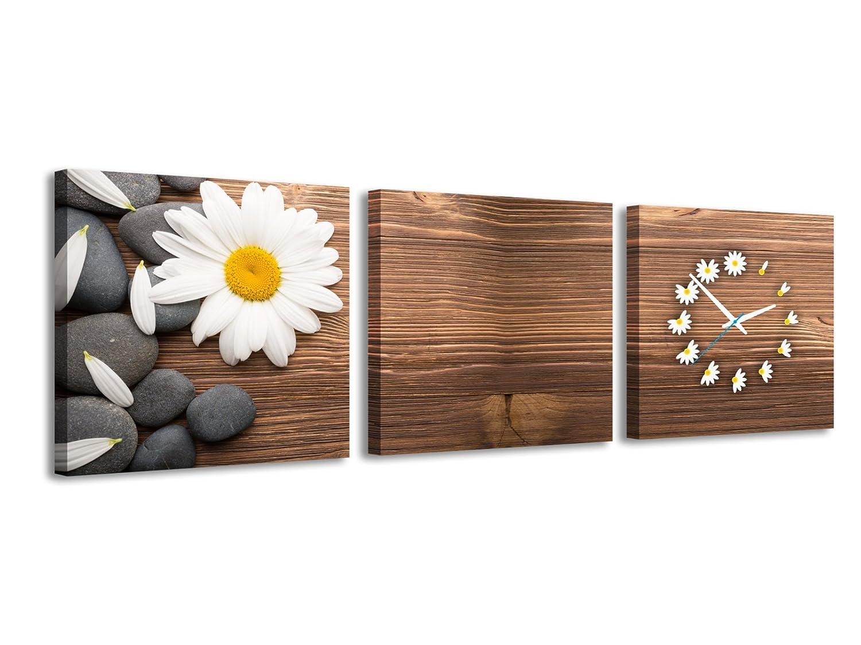 Amazon.de: Quadratische Uhr Weiß Gänseblümchen Holz Steine Friedlich ...