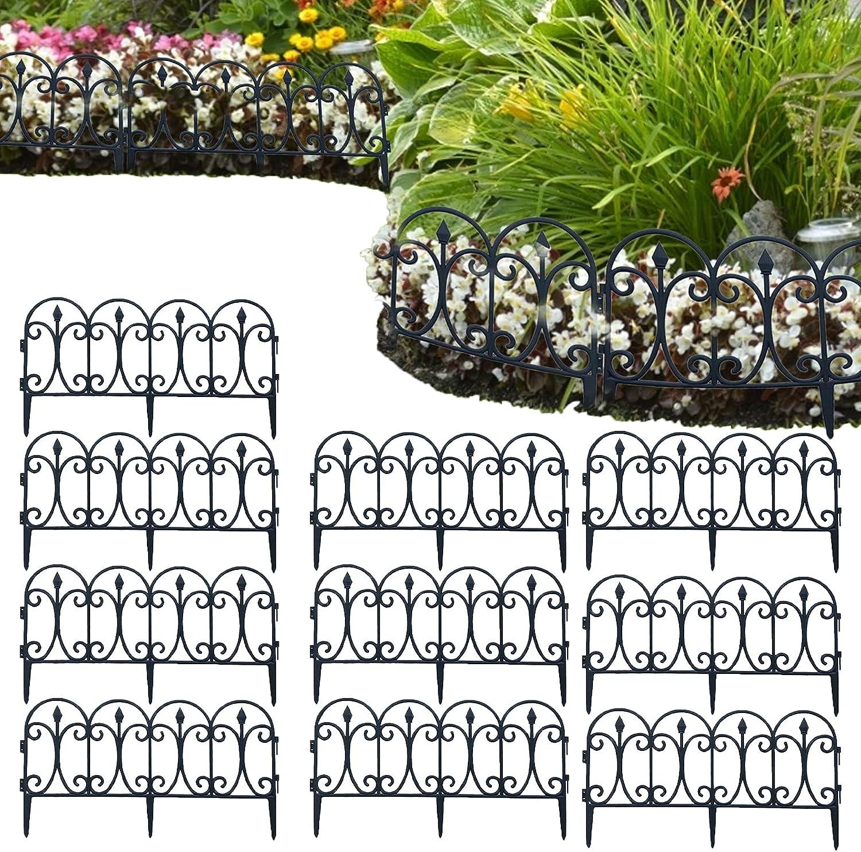 Decorative Garden Fence Folding Fencing Patio Wire Border for Flower Landscape Folding Fencing Patio Wire Border Outdoor Rustproof Landscape Section Wrought Panel Decor Dog Barrier