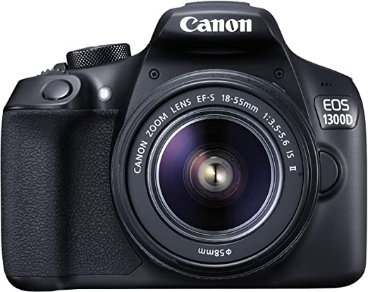 Canon EOS 1300D 18MP Digital SLR Camera  Black  with 18 55mm ISII Lens, 16 GB Card and Carry Case Digital SLRs