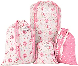 NEOVIVA Fabric Storage Bag for Travel, Set of 4, Floral Prism Pink