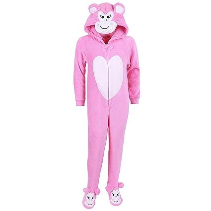 Las niñas Rosa mono Onesie pijama forro polar para niño disfraz edad 3 -13 años