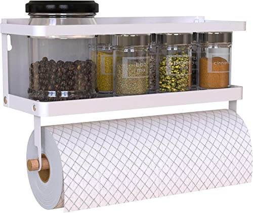 Magnetic Spice Rack Organizer Single Tier Refrigerator Spice Storage Shelf, Easy to Install The Side of The Refrigerator Can Hold spices, Jar of Olive Oil White, With hook