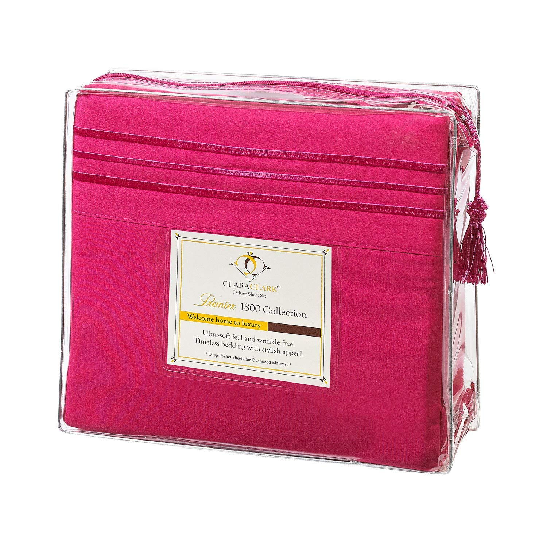 Clara Clark プレミア1800シリーズ ベッドシーツ4点セット キングサイズ ホットピンク 低刺激性 深いポケット B07NTKH52D