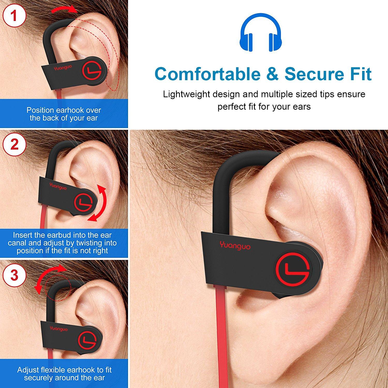 YuanGuo - Auriculares inalámbricos deportivos con micrófono, control remoto integrado, IPX7, impermeables, HD, estéreo, ajuste seguro, para gimnasio, ...