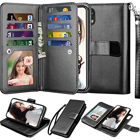 brand new aa839 74e32 Njjex Wallet Case for iPhone XR, for iPhone XR Case, PU Leather [9 Card  Slots] ID Credit Holder Folio Flip Cover [Detachable][Kickstand] Magnetic  ...
