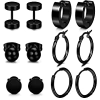 Amazon Price History for:LOYALLOOK 6-12Pairs Stainless Steel Earrings For Men CZ Stud Earring Tiny Ball Stud Earrings Cartilage Earrings Endless Hoop Earrings For Men