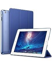 ESR Funda para iPad 2/3/4 [Auto-Desbloquear] Función de Soporte [Botones Protegidos] Carcasa Ligera Antigolpes de Cuero Sintético y Plástico Duro Esmerilado Smart Case para Apple iPad 2/3/4- Azul