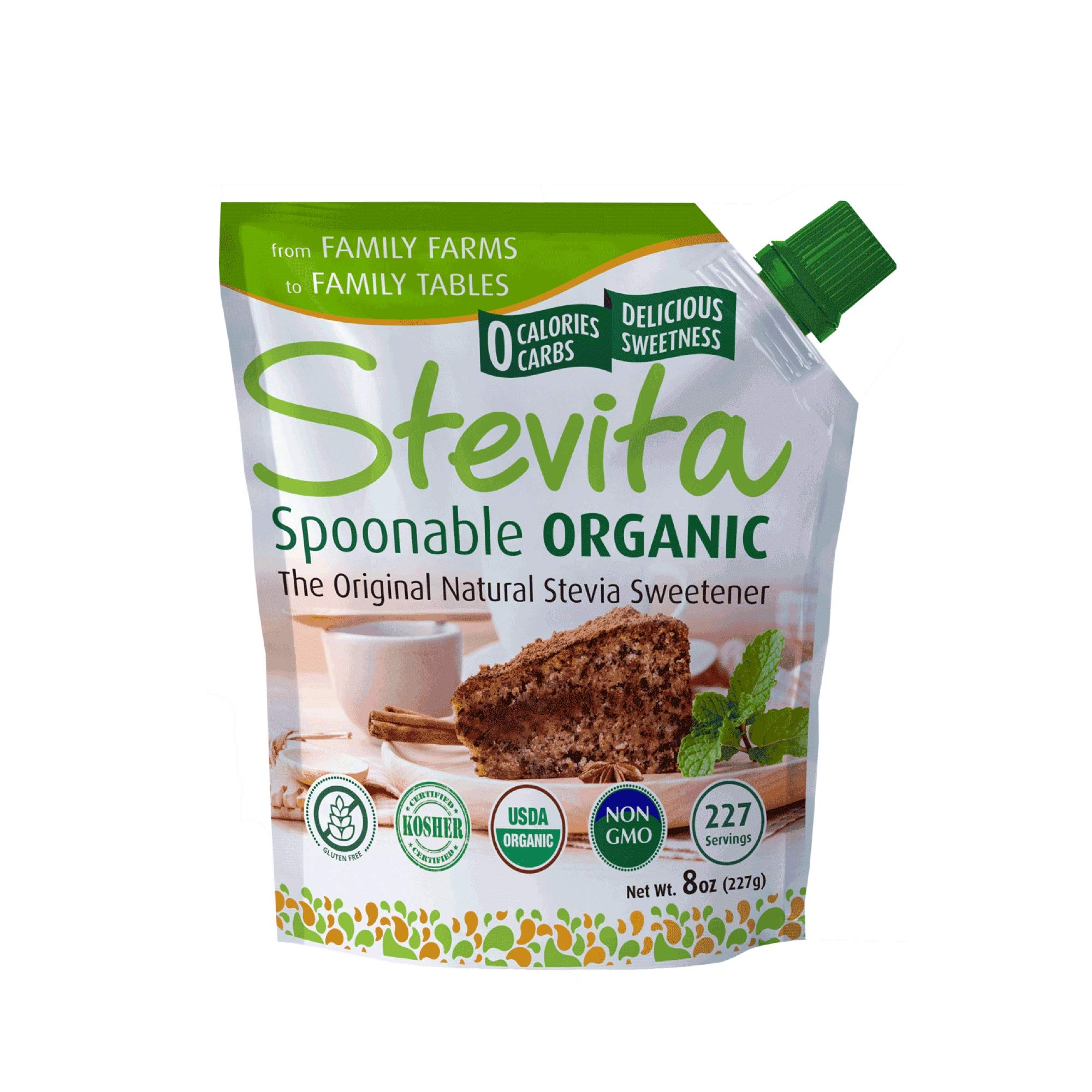 Stevita Organic Spoonable Stevia Pouch - 8 Ounces - All Natural Stevia Extract, Natural Sweetener - USDA Organic, Non GMO, Vegan, Kosher, Keto, Paleo, Gluten-Free - 227 Servings by STEVITA (Image #9)