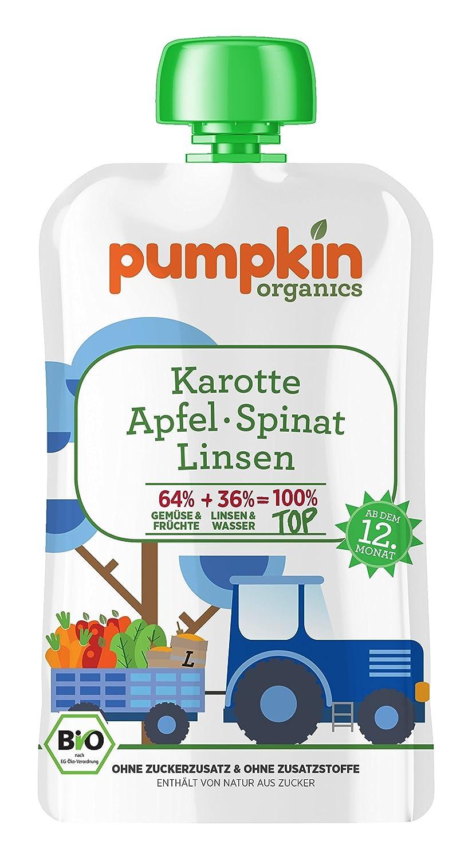 Pumpkin Organics 100g Bio Baby-Brei im Quetschbeutel aus Karotte - Spinat mit Linsen und Apfel Babynahrung Gemüsep