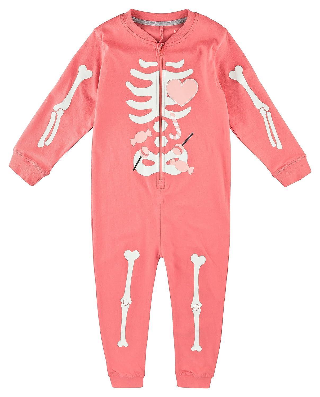 Lupilu Mädchen Overall Onesie Einteiler Pyjama Bündchen Arme Beine Skelett-Aufdruck Reißverschluss grau)