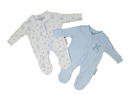 1bcb26bc9 Baby Boys Blue Premature 2 Pack Set of Sleepsuits - Teddy Design ...