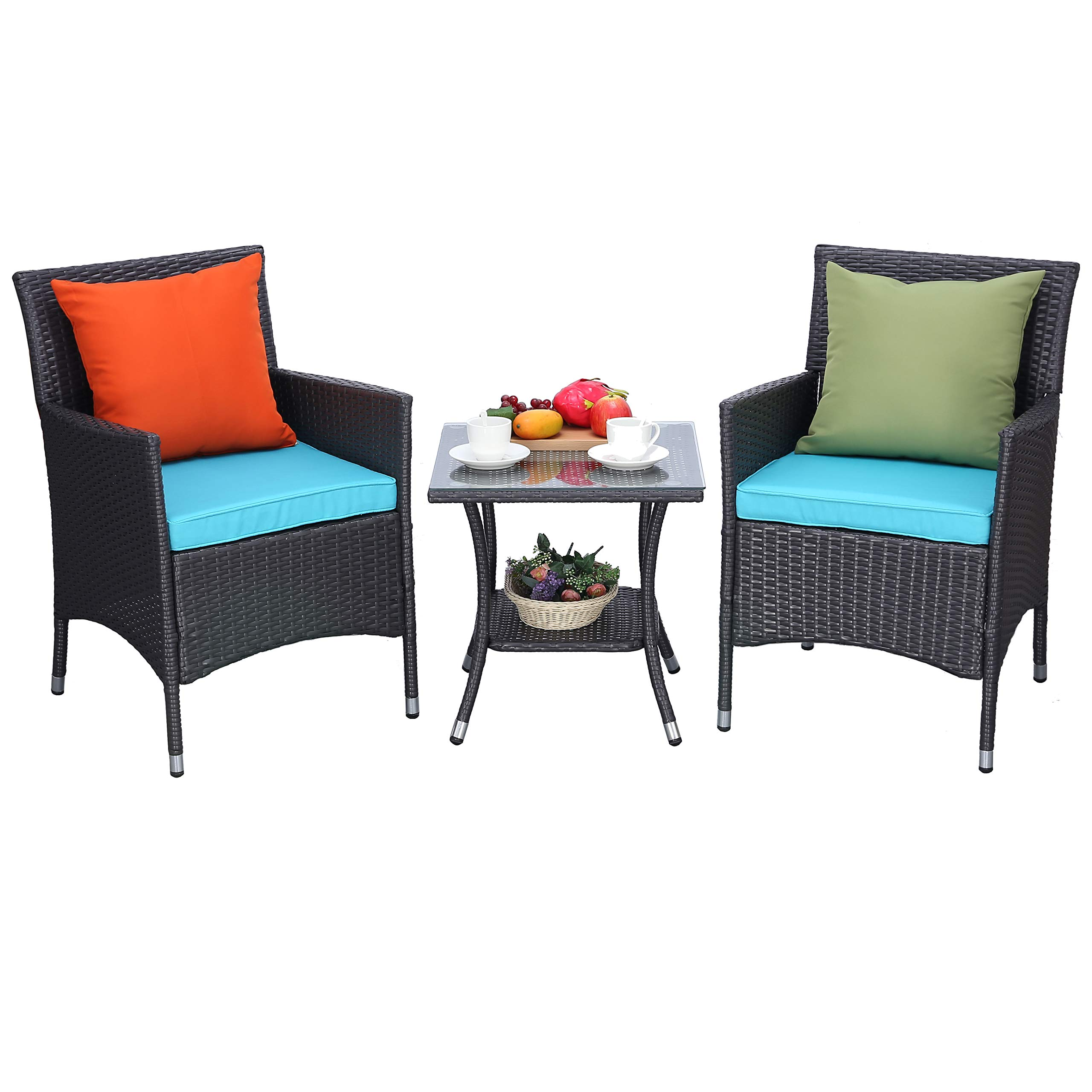 Do4U 3 Pieces Outdoor Patio Furniture Set Outdoor Wicker Conversation Set Cushioned PE Wicker Bistro Set Rattan Chairs with Coffee Table | Porch, Backyard, Pool Garden | Dining Chairs (638-EXP-TRQ)