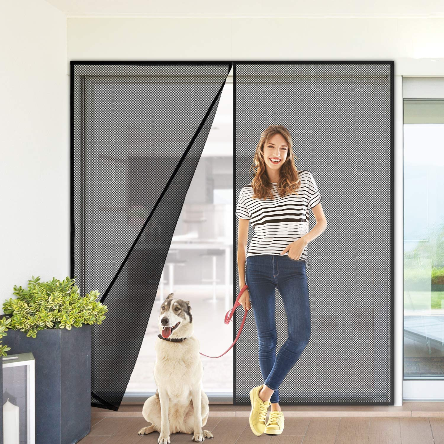 Upgraded Magnetic Screen Door with Durable Fiberglass Mesh