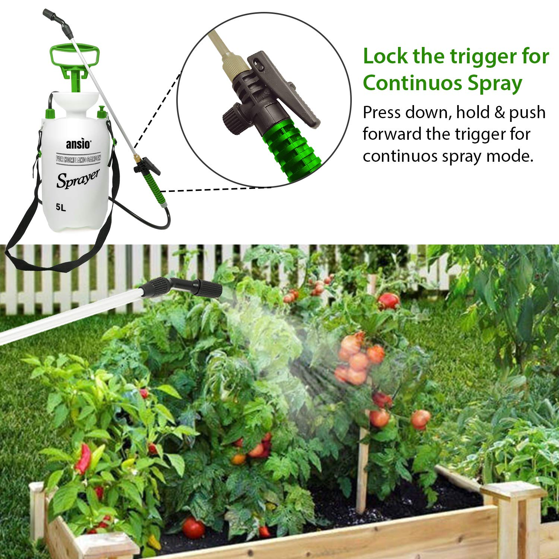 ANSIO Pulverizador a presión de 5 litros con válvula de Seguridad, Correa para el Hombro para jardín, Bomba de césped: Amazon.es: Jardín