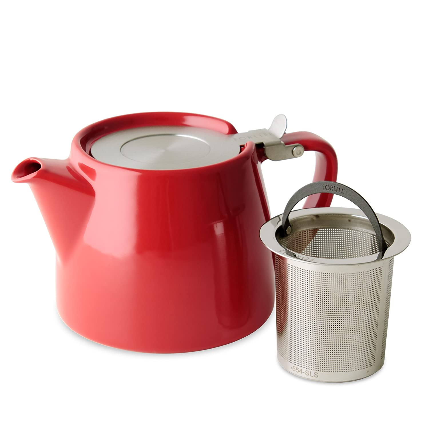 FORLIFE Stump Teapot with SLS Lid and Infuser, 18-Ounce, Red