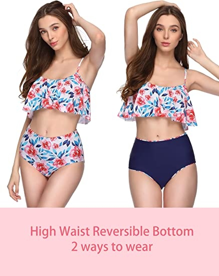Amazon coupon code for Women Swimsuits Two Piece Ruffle High Waisted
