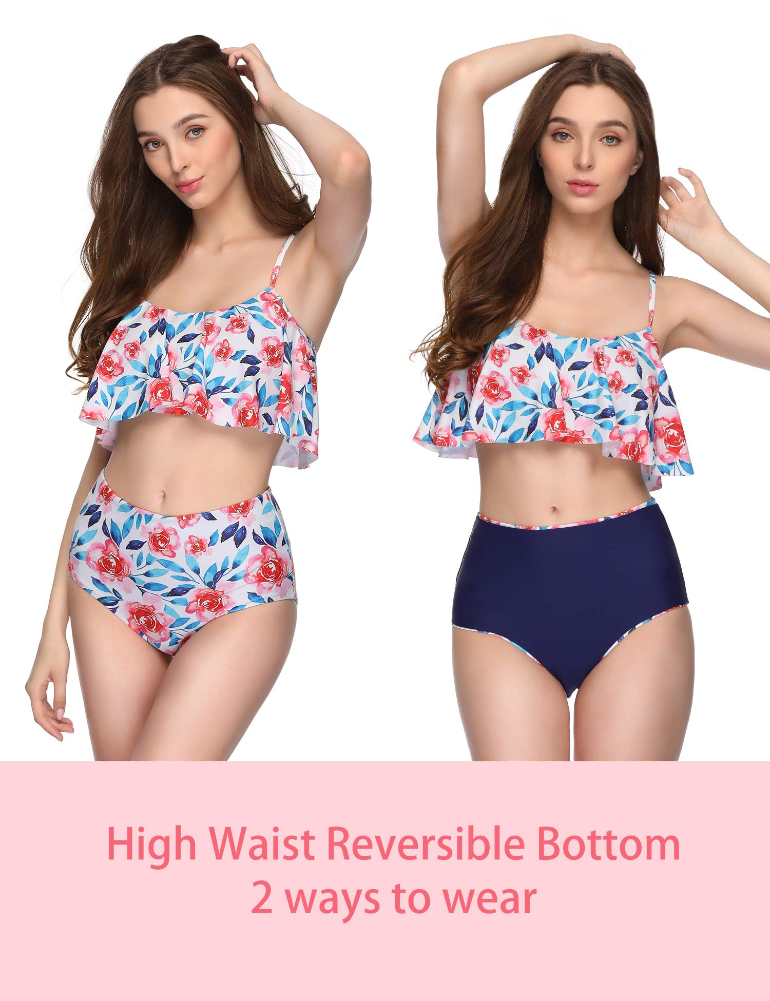 Verano Playa Swimsuits Women Floral Print Tiered Top High Waisted Bottom Two Piece Bikini Set Bathing Suit