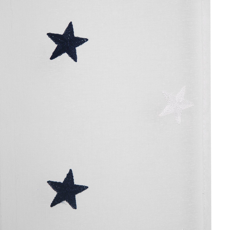 Deconovo Voile Gardinen Leinenoptik /Ösenvorhang Dekoschal mit Stickerei 245x140 cm Stern Blau