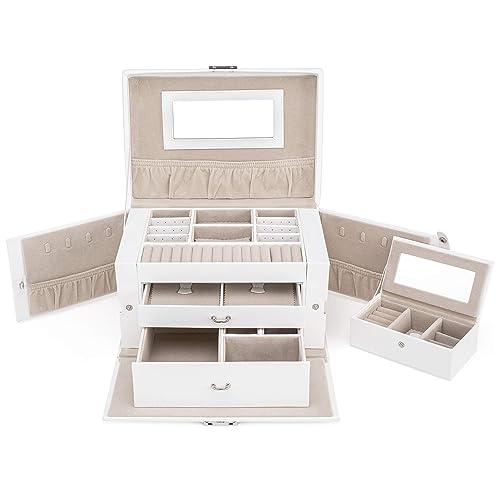 TRESKO® Joyero | Caja para Joyas | Estuche con Cerradura - 3 Niveles y Cajones - Incluye Espejo y mini Joyero de Regalo: Amazon.es: Joyería