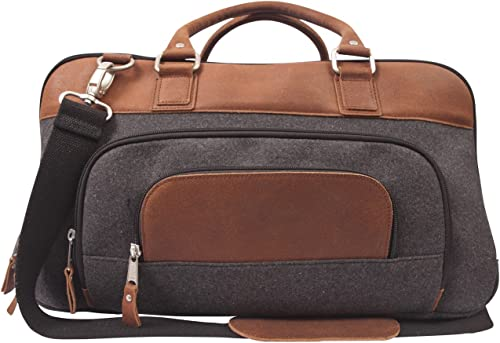 Canyon Outback Leather Goods Inc. Brody 18 Wool and Leather Duffel Bag, Grey Tan – Full Grain Leather and Premium Wool Overnight Weekender Bag – Perfect Travel Bag or Gym Bag