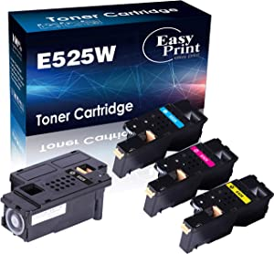 (BK+C+M+Y) 4-Pack Compatible Toner Cartridge Replacement for Dell E525W E525 for Dell E525W Wireless Color Laser Printer for 593-BBJX 593-BBJU 593-BBJV 593-BBJW, Sold by EasyPrint