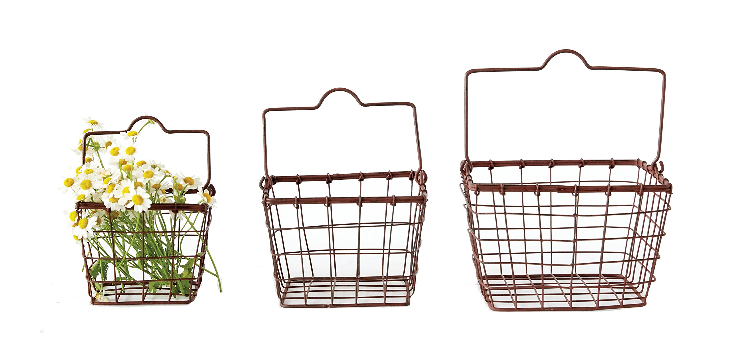 Creative Co-op DA6599 Square Metal Wire Basket Set with Handle