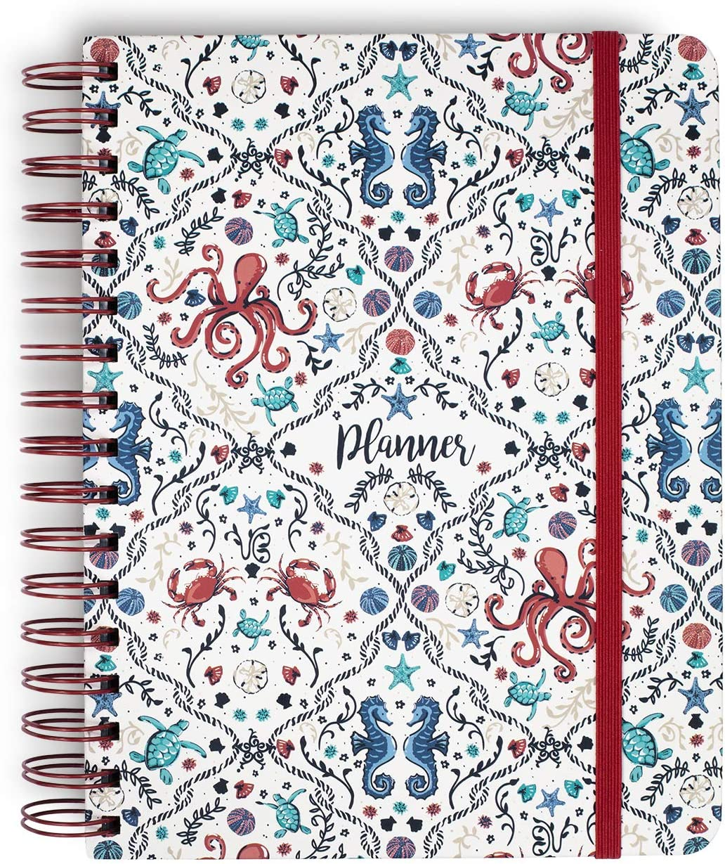 Vera Bradley Large Undated Planner Daily Weekly and Monthly, Hardcover Personal Organizer with Stickers and Tab Dividers, Sea Life
