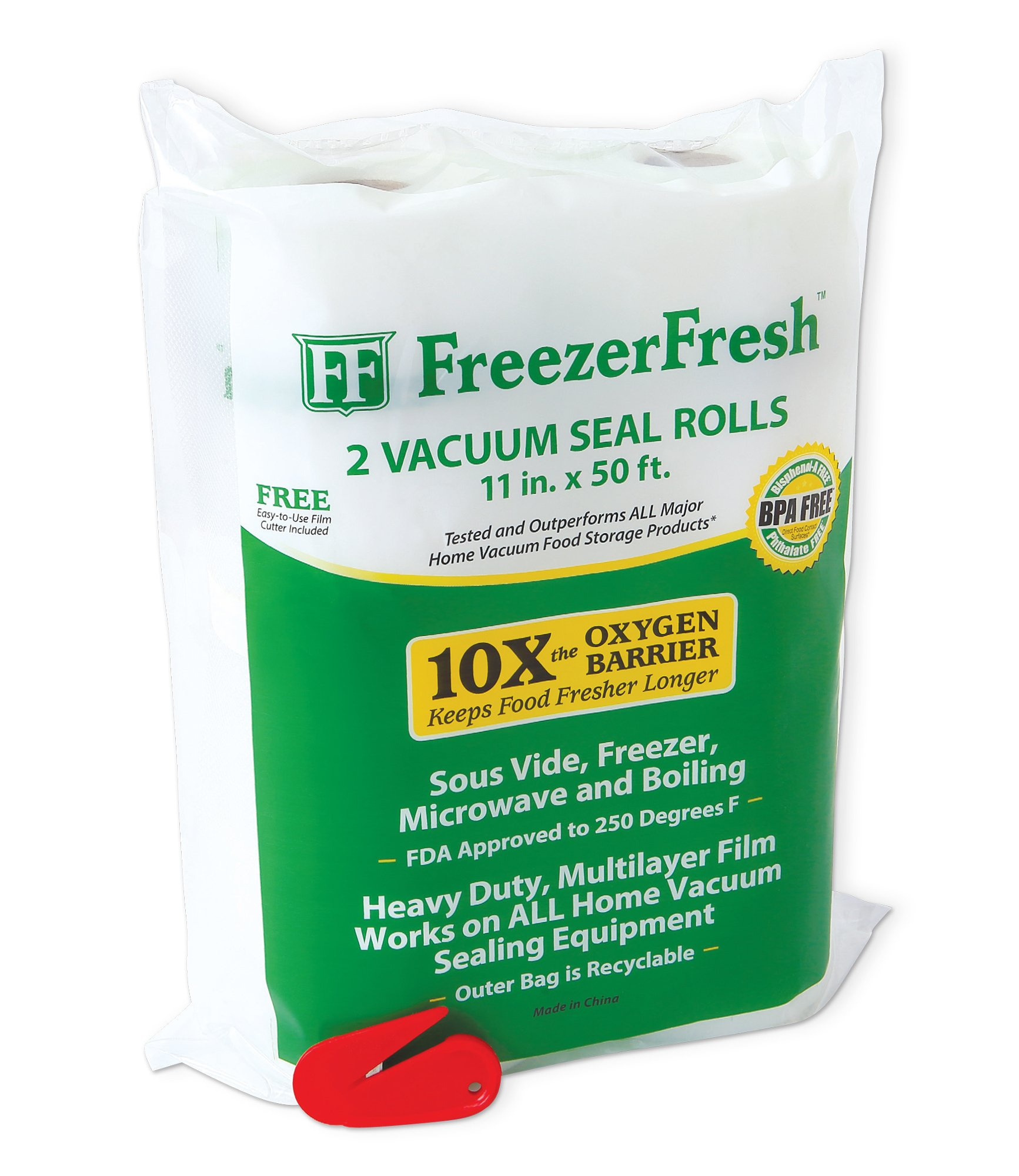 2 Pack - Freezer Fresh 11'' x 50' Commercial Grade Vacuum Sealer Rolls. Food Storage Rolls Compatible with FoodSaver, Sous Vide and more