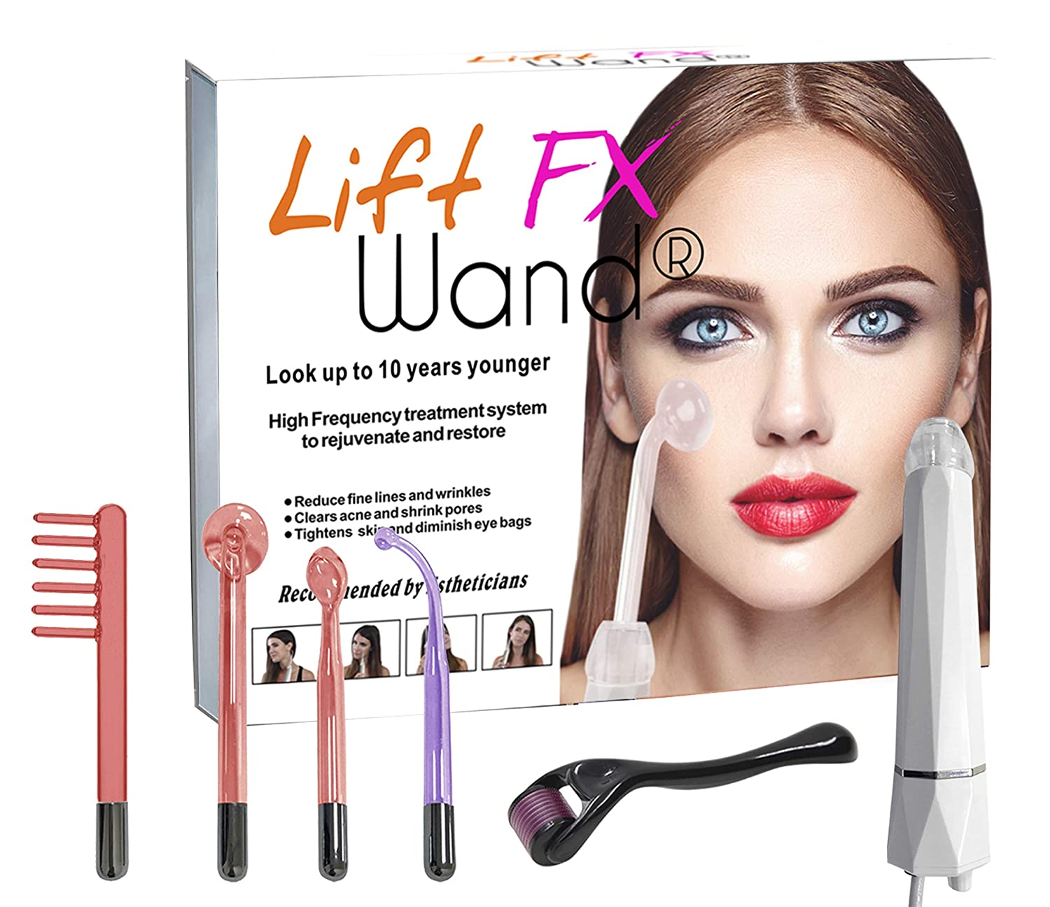 Lift Wand High Frequency Premium Anti Aging device, Eliminates Wrinkles, Skin Tightening, Acne, Dark Circles, Blemish Remover: Beauty