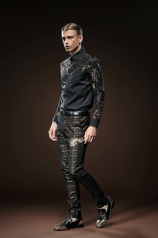 ff2d4a81e6615 FANZHUAN Lujo Encaje Dorado Negro Camisas Hombre Manga Larga Slim Fit   Amazon.es  Ropa y accesorios