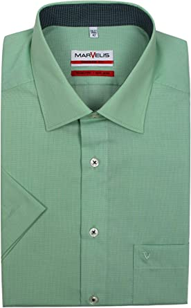 Mens Shirt Olymp Luxor Modern Tailored Fit Non Iron Pure Cotton Short Sleeve
