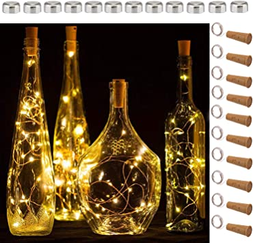 Amazon Com Sfun Wine Bottle Lights With Cork 5 Dimmable Modes With Timer 10 Pack 12 Replacement Battery Operated Led Silver Wire Fairy String Lights For Diy Party Decor Christmas Halloween Wedding Home Improvement