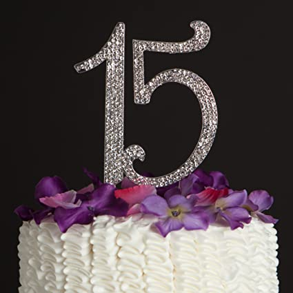 Ella Celebration 15 Cake Topper 15th Birthday Anniversary Quinceañera Party Supplies Rhinestone Number Decoration Silver