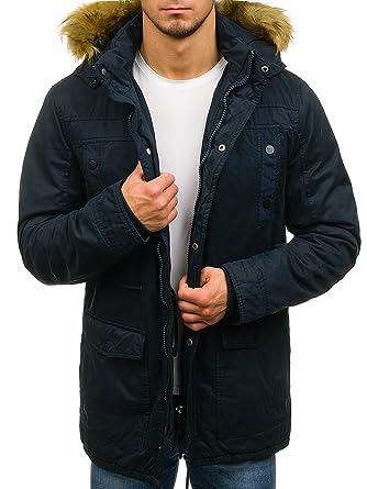 BOLF Herren Jacke Winterjacke mit Kapuze Reißverschluss Knopfleiste  täglicher Stil Extreme 1771 Dunkelblau XXL  4D4 b9e649bc29