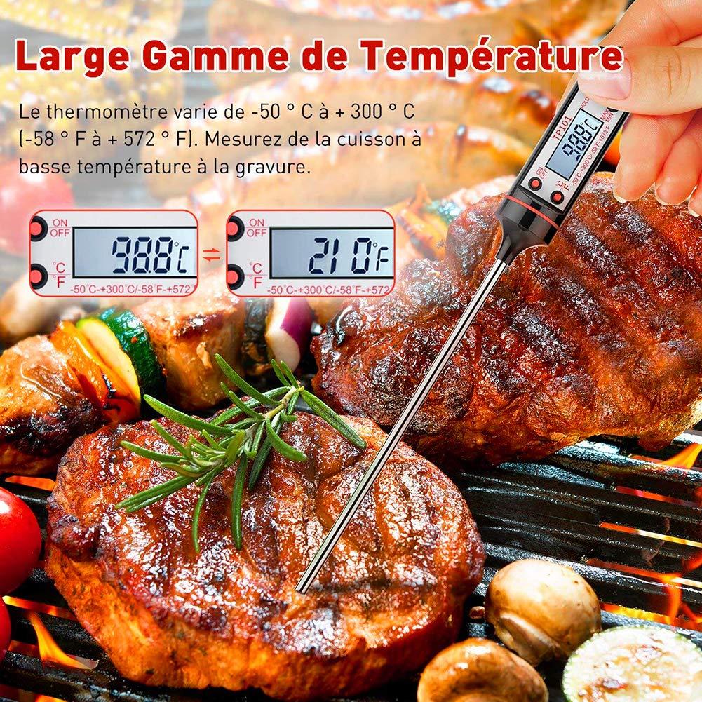 Compra Termómetro de Cocina, SQtech Cocinar Termómetros, Termómetro Digital de Comida con Inoxidable Sonda Larga, Anti-Corrosión, para Alimentación, Carne, ...