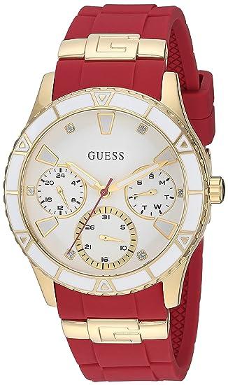 GUESS Reloj de Cuarzo para Mujer, Acero Inoxidable y Silicona, Color Rojo (Modelo