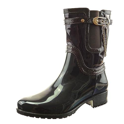 Sopily - Zapatillas de Moda Botines Botas chelsea boots botas de guma de lluvia A medio