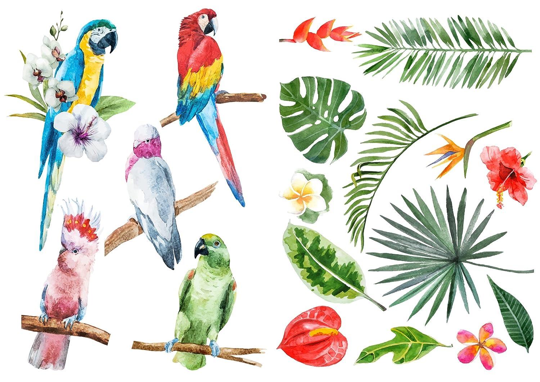 D/écoration adh/ésive 157171 Nature Tropicale Multicolore 21 x 0,1 x 29,6 cm Polyvinyle