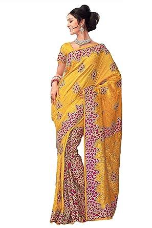 644ec20fb2109a Samyakk Silk Brocade Embroidery Half-and-Half Saree for Women  Yellow    Amazon.in  Clothing   Accessories
